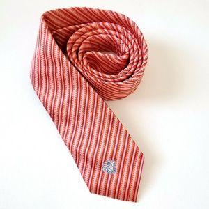 NEW Versace Pink Striped Logo Slim 100% Silk Tie